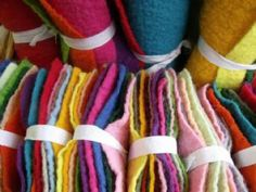 12 Small Sheets Textured Wool Blend Felt. Offer Price.
