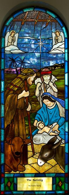 The Nativity Stained Glass Church Window by Katglass.com