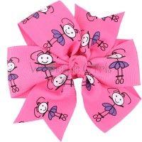 Pinwheel Hair Bow Pink and Purple Ballerina