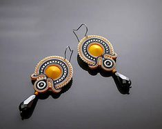 Yellow gray graphite Soutache earrings with Hematite.
