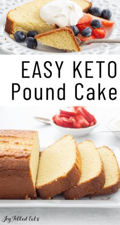 Moist, flavorful and simple, this Keto Pound Cake is a family favorite. It's buttery, soft, and the perfect dessert for any occasion. Take this low-carb, gluten-free, grain-free dessert to all your spring and summer parties! Summer Dessert Recipes, Spring Desserts, Keto Dessert Easy, Healthy Dessert Recipes, Keto Snacks, Low Carb Pound Cake Recipe, Gluten Free Pound Cake, Keto Cake, Low Carb Sweets