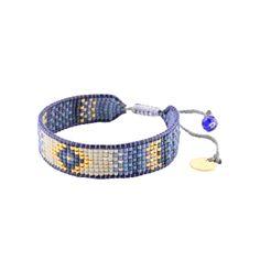 Bracelet en perles, détail cuir bleu marine - TRACK LE 2895