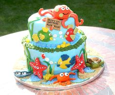 The underwater themed cake i made for my son's 5th birthday