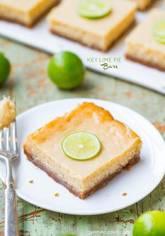 Key Lime Pie Bars - Plenty of bold lime flavor in these easy bars that are a twist on the classic pie everyone loves! From AverieCooks.com