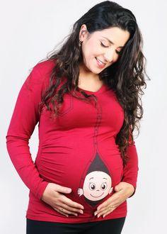 Funny Maternity peeking baby shirt. Original pregnancy by HeryoniT, ₪120.00