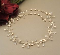 Artisan Bridal Vine Necklace Cream Pearls with by BridalDiamantes, $115.00