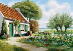 Countryside Paintings by Reint Withaar - Photo News - Dong Nai Newspaper Storybook Cottage, Cottage Art, Painted Cottage, Creation Photo, Peaceful Places, House Painting, Home Art, Landscape Paintings, Countryside