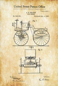 Camino motor patente grabado de patente pared decoración