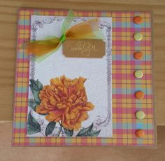 Art Fabric Note Card with Tartan Papers by Craftwork Cards. Created by Jane Compton