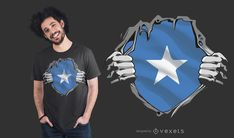 Somalia Flag T-Shirt Design featuring an illustration of two hands ripping of the t-shirt revealing the Somalia flag under it, in form of a superheroes costume. Powerpoint Free, Creative Powerpoint, Somalia Flag, Cute Baby Cow, Shirt Maker, Super Hero Costumes, Layout Template, Guinea Pigs, Flag Shirt