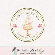 cake logo design watercolor cake logo bakery by ThePaperGirlCo https://www.kznwedding.dj