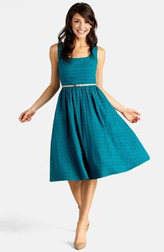 Donna+Morgan+Belted+Eyelet+Lace+Fit+&+Flare+Dress+available+at+#Nordstrom