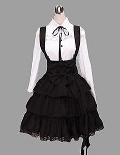 Outfits Klassiek en Tradtioneel Lolita Geïnspireerd door vintage Cosplay Lolita Jurken Wit / Zwart Vintage Lange Mouw Gemiddelde Lengte