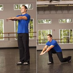 """LUNGE WITH ARM REACH  """"Reaching forward with the arms at knee height creates additional hip flexion, placing more emphasis on the gluteus maximus"""