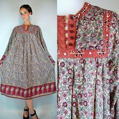 Vintage 1970s INDIAN GAUZE 100% Cotton Sheer Bohemian Dress. Hippie Gypsy Boho Festival Floral Print Gold Bell Sleeve. Extra Small - Medium