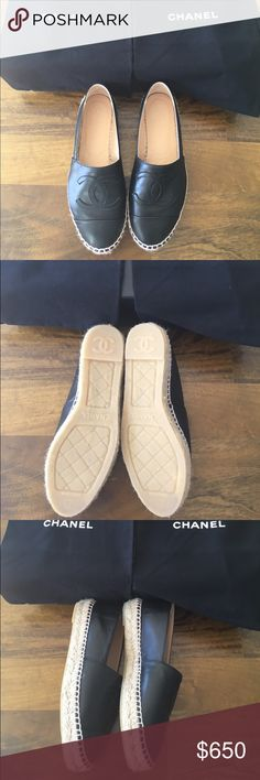 """Chanel Calf Skin Leather Espadrilles Black, Calf skin, leather espadrilles. Never been worn out. New, with tags! I normally wear a 6.5US but the size 35 fits me. If you need more measurements I will gladly provide it. Just ask! 35EU is loosely translated to 5US. The leather will stretch to fit your foot! The SA at Chanel said its best to size down. Don't know how to take down the """"sold"""" sign on my original post. So I just made a new one. Still have it!! CHANEL Shoes Espadrilles"""