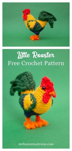 Little Rooster Amigurumi Free Crochet Pattern and Video Tutorial The Little Rooster Amigurumi Free Crochet Pattern is great for beginners since it only needs some basic crocheting skills. It is great for the Easter and Rooster year celebration. Amigurumi Free, Crochet Patterns Amigurumi, Crochet Blanket Patterns, Crochet Dolls, Crochet Stitches, Knitting Patterns, Amigurumi Doll, Free Knitting, Amigurumi Tutorial
