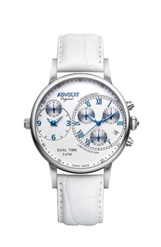 ADVOLAT CAPITAINE Dual Time, Stainless Steel Casing, Face white/blue, Leather Bracelet white, Ref. 88001/1-L1 Limited Edition Watches, Watches Online, Wedding Watches, Stainless Steel, Bracelets, Face, Leather, Stuff To Buy, Accessories