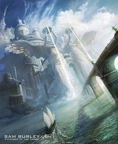 A tremendous palace // Fantasy artwork by Sam Burley. Fantasy City, Fantasy Castle, Fantasy Places, Fantasy Kunst, Fantasy World, Fantasy Artwork, Fantasy Concept Art, Fantasy Landscape, Landscape Art