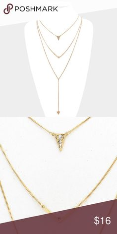 "Triple Layer Necklace + Earring Set • Color : Clear, Gold  • Necklace Size : 19"" + 3"" L • Decor Size : 10"" L  • Earrings Size : 0.2"" L • Triple layer crystal detail V-shaped pendant necklace Jewelry Necklaces"