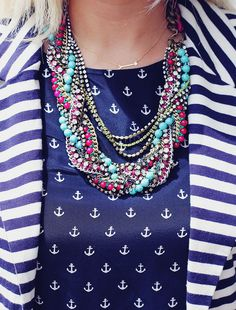Mix n' Match rocks her sailor stripes and anchors with a Stella & Dot Bamboleo Necklace & On-The-Mark arrow Necklace