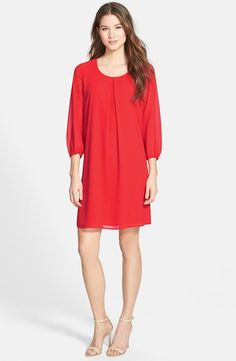 Three-Quarter Sleeve Pleat Front Dress