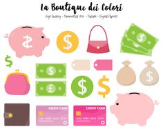 Money Clipart, Cute Digital illustrations PNG, Save up, piggy bank, dollars, finance, pay day Clip art, Planner Stickers Commercial Use by LaBoutiqueDeiColori on Etsy https://www.etsy.com/uk/listing/463325013/money-clipart-cute-digital-illustrations