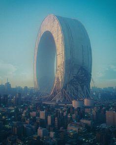 A CGI Master Creates Sci-fi Inspired Artwork That Reflects Today's Society Arte Cyberpunk, Arte Sci Fi, Sci Fi Art, Fantasy Landscape, Landscape Art, Art Science Fiction, Art Actuel, Open Air, Futuristic City
