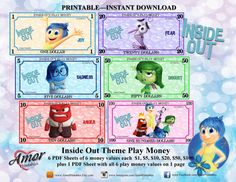 Play Money Inside Out Inspired digital file by AmorPrintables Princess Party Games, Disney Princess Party, Pink Princess, Pink Party Favors, Party Favor Bags, Diy Eid Cards, Printable Play Money, Learning Money, Bubble Guppies Party