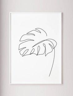 Monstera leaf print, Monstera one line drawing wall art, Wabi sabi Minimalist modern wall decor, Abstract Botanic poster, black and white Feuille de Monstera imprimer art mural de Monstera un dessin Leaf Drawing, Wall Drawing, Drawing Tips, Drawing Faces, Wabi Sabi, Minimal Art, Leaf Prints, Art Prints, Poster Prints