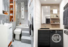 Small bathrooms can really be cozy and nice, you just have to buy the appropriate furniture and organize it in the right way. You'll see that your tiny bathroom will turn into a big one with the help of a few tricks. Small Apartment Interior, Small Apartment Living, Small Apartments, Tiny Bathrooms, Tiny House Bathroom, Cottage Design, House Design, Built In Shelves, Storage Shelves