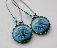 Blue Shadows Tree Earrings. Midnight Blue by WearitoutJewelz, $20.00