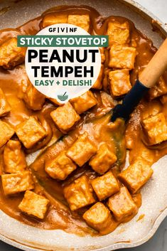easy rice pilaf This Stovetop Peanut Tempeh is saucy, creamy, and easy! Serve this 15 minute fuss-free recipe with asian-style bowls or noodles. Vegan, Gluten-Free, and hig Vegan Entree Recipes, Tofu Recipes, Cooking Recipes, Healthy Recipes, Vegan Meals, Style Asiatique, Think Food, Vegan Dishes, Vegan Recipes