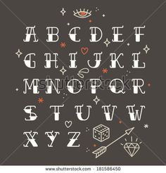 Poster Tattoo style font with rounded corners, black condensed letters alphabet. Old school tattoo elements. Tattoo letters, alphabet. Standard font for advertising, graphic, print or web design.  by motuwe, via Shutterstock