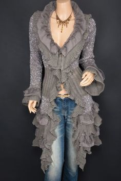 Gray Ruffles Lace Tiered Hem Long Button Up Cardigan Sweater Jacket