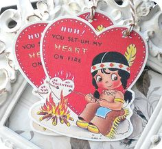 Vintage Indian Girl at Campfire Valentine by LittlePaperFarmhouse, $3.95