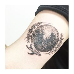 : moon +flower +whale ++ #tattooistbanul globe hyperrealism tattoo for men women girly for traveler and nature lover