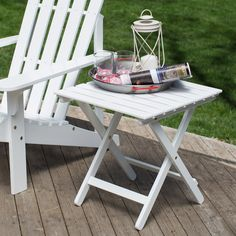 Coral Coast Pleasant Bay Acacia Adirondack Table - White - Complement your outdoor lounging area with the stylishly functional Coral Coast White Painted Acacia Adirondack Table. This handy table is made from w...