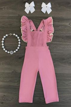 Blush Pink Ruffle Jumpsuit - Sparkle in Pink Mommy And Me Outfits, Little Girl Outfits, Kids Outfits, Cute Outfits, Cute Kids Fashion, Girl Fashion, Fashion Outfits, Baby African Clothes, Tutu