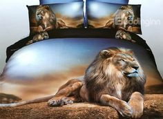 Powerful Lying Lion 4-Piece Polyester #3D Duvet Cover #bedroom #bedding #decor