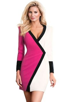 82f9ef585809 Color Block Faux Wrap Women Sexy Deep V Neck Long Sleeve Bodycon Club Party  Dres