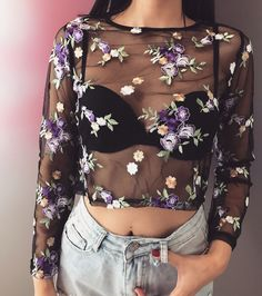 Violet Flower Embroidery Sheer Mesh Blouse Top · FE CLOTHING · Online Store Powered by Storenvy