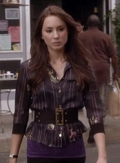Spencer's navy shirt and wide belt on Pretty Little Liars.  Outfit details: http://m.wornontv.net/4695/