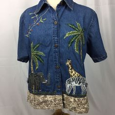 b26f31481314 New Direction Embellished Safari Zoo Animal Zebra Giraffe Denim Shirt Size  Med | eBay
