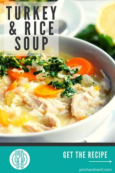 This easy recipe for homemade Turkey and Rice Soup is the most delicious way to enjoy leftover turkey! Irresistible with a finish of parsley, lemon zest and garlic! Healthy Soup Recipes, Clean Eating Recipes, Real Food Recipes, Easy Thanksgiving Recipes, Easy Dinner Recipes, Turkey Rice Soup, Mediterranean Diet Recipes, Leftover Turkey, Cooking Turkey