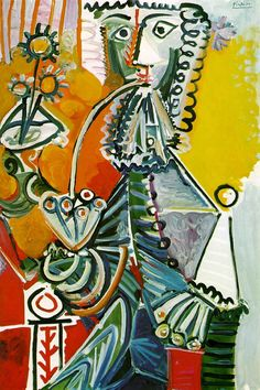 """Pablo Picasso: """"Musketeer with Pipe and Flowers"""", 1968)."""