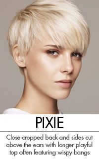 Another legacy of 60's revolutions, the Pixie has been popularized by the biggest stars and biggest salons and remains today a predominant style for women of all demographics. The Pixie is defined by short layered back and sides cut above the ears, with a variety of longer tops, often with wispy bangs.