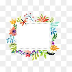 Watercolor flowers border vector material