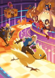 Final Fantasy VII - Cloud, Cid and the crew having fun in Gold Saucer