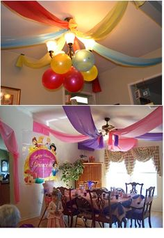 And the ceiling... colored tablecloths